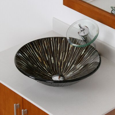 Contrasting Trickles Hand Painted Fanfare Glass Circular Vessel Bathroom Sink Drain Finish: Chrome