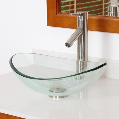 Mini Tempered Glass Boat Oval Vessel Bathroom Sink Sink Finish: Clear, Drain Finish: Brushed Nickel