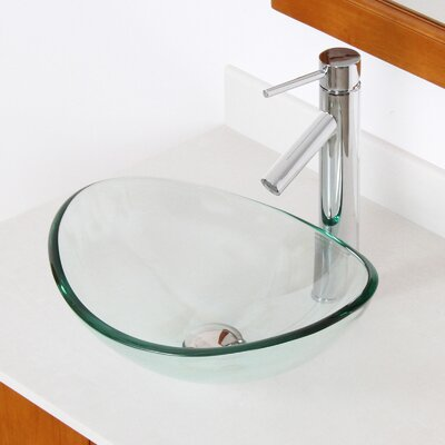 Mini Tempered Glass Boat Oval Vessel Bathroom Sink Sink Finish: Clear, Drain Finish: Chrome