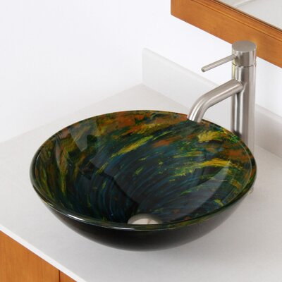 Whirlpool Mossy Lake Hand Painted Bowl Circular Vessel Bathroom Sink Drain Finish: Brushed Nickel