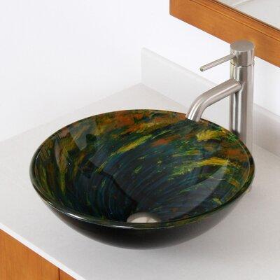 Whirlpool Glass Circular Vessel Bathroom Sink Drain Finish: Brushed Nickel
