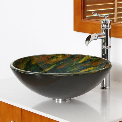 Whirlpool Mossy Lake Hand Painted Bowl Circular Vessel Bathroom Sink Drain Finish: Chrome