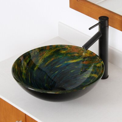 Whirlpool Mossy Lake Hand Painted Bowl Circular Vessel Bathroom Sink Drain Finish: Oil Rubbed Bronze