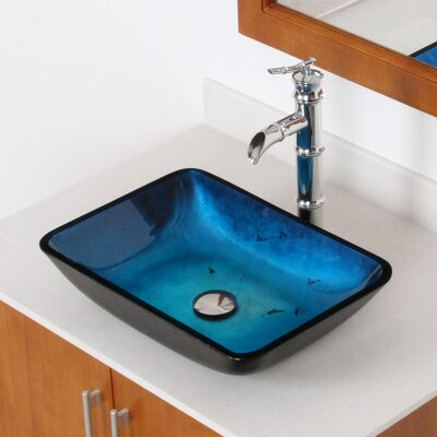 Hand Painted Glass Rectangular Vessel Bathroom Sink Sink Finish: Metallic Blue