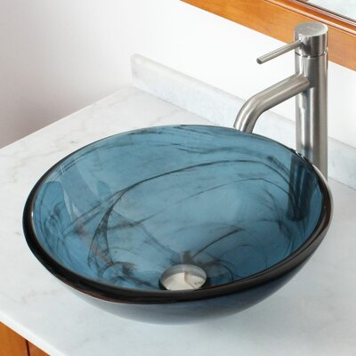 Double Layered Tempered Glass Bowl CircularVessel Bathroom Sink Drain Finish: Brushed Nickel