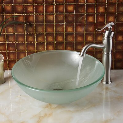 Double Layered Tempered Glass Circular Vessel Bathroom Sink