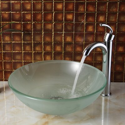 Double Layered Tempered Glass Bowl Circular Vessel Bathroom Sink