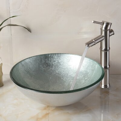 Hand Painted Glass Circular Vessel Bathroom Sink Drain Finish: Brushed Nickel