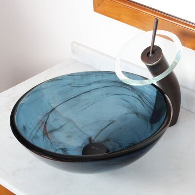 Double Layered Tempered Glass Bowl CircularVessel Bathroom Sink Drain Finish: Oil Rubbed Bronze