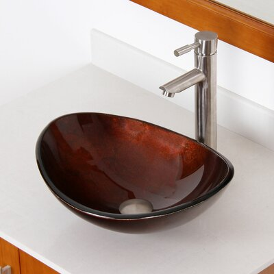 Hand Painted Glass Oval Vessel Bathroom Sink Sink Finish: Dark Bronze