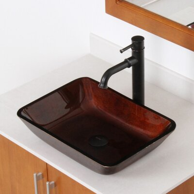 Hand Painted Glass Rectangular Vessel Bathroom Sink Sink Finish: Dark Copper