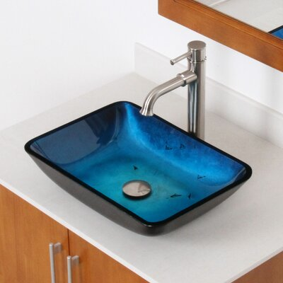 Hand Painted Foil Rectangle Flat Bottom Vessel Bathroom Sink Sink Finish: Metallic Blue