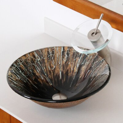 Handcrafted Glass Circular Vessel Bathroom Sink Drain Finish: Brushed Nickel