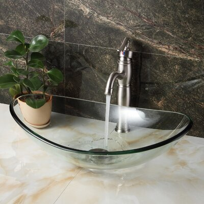 Tempered Glass Boat Oval Vessel Bathroom Sink