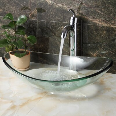 Tempered Glass Oval Vessel Bathroom Sink