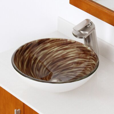 Whirlpool Glass Circular Vessel Bathroom Sink Drain Finish: Brushed Nickel