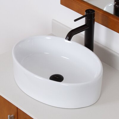 Ceramic Elliptical Oval Vessel Bathroom Sink Drain Finish: Oil Rubbed Bronze