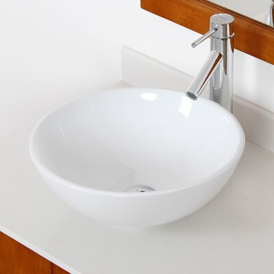 Ceramic Circular Vessel Bathroom Sink Drain Finish: Chrome
