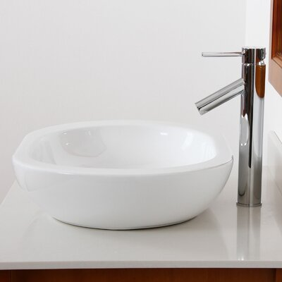 Ceramic Oval Vessel Bathroom Sink Drain Finish: Chrome