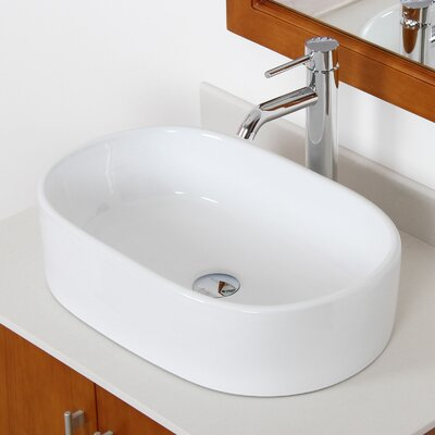 Ceramic Flat Bottom Oval Vessel Bathroom Sink Drain Finish: Chrome