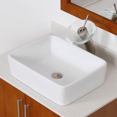 Ceramic Rectangular Vessel Bathroom Sink Drain Finish: Brushed Nickel