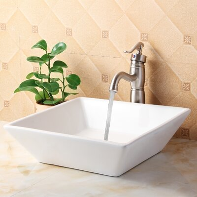 Ceramic Square Vessel Bathroom Sink Drain Finish: Brushed Nickel