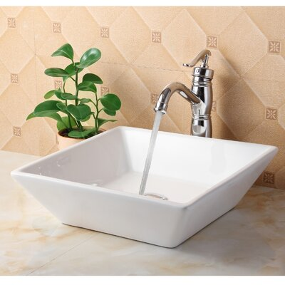 Ceramic Square Vessel Bathroom Sink Drain Finish: Chrome