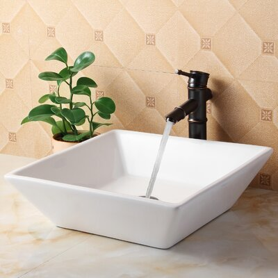 Ceramic Square Vessel Bathroom Sink Drain Finish: Oil Rubbed Bronze