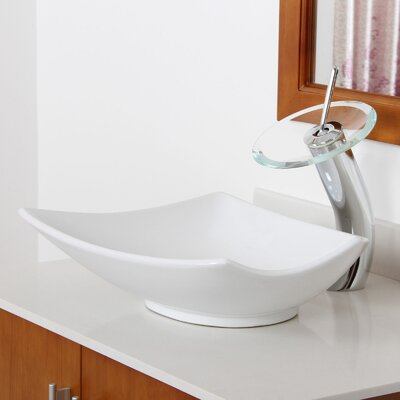 Ceramic Asymmetrical Specialty Vessel Bathroom Sink Drain Finish: Brushed Nickel