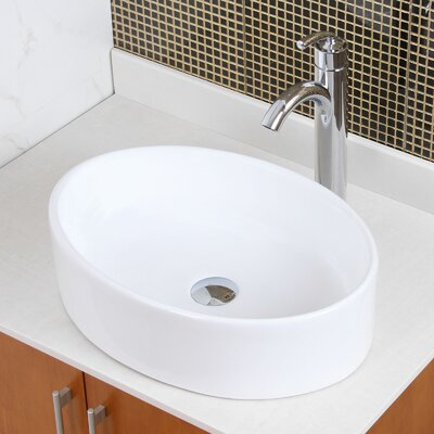 Ceramic Elliptical Oval Vessel Bathroom Sink Drain Finish: Chrome