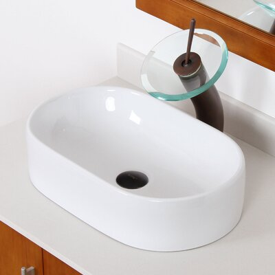 Ceramic Capsule-Shaped Oval Vessel Bathroom Sink Drain Finish: Brushed Nickel