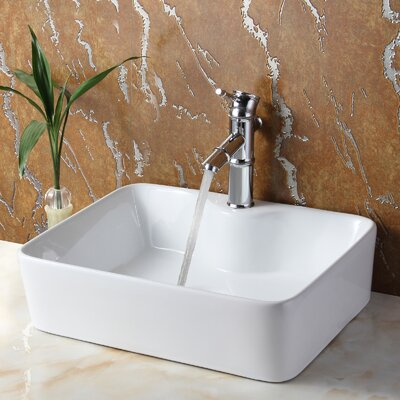 Ceramic Rectangular Vessel Bathroom Sink Drain Finish: Brushed Nickel