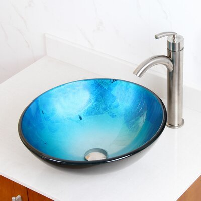 Tempered Glass Circular Vessel Bathroom Sink Drain Finish: Oil Rubbed Bronze