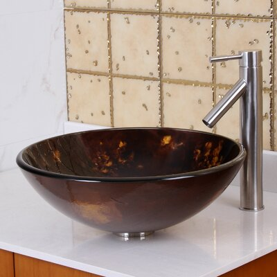 Tempered Glass Circular Vessel Bathroom Sink Drain Finish: Brushed Nickel