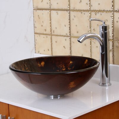 Tempered Glass Circular Vessel Bathroom Sink Drain Finish: Chrome
