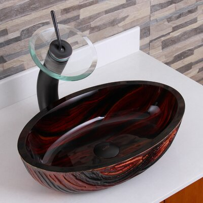 Marble Hot Melted Rock Pattern Glass Flat Bottom Oval Vessel Bathroom Sink Drain Finish: Oil Rubbed Bronze