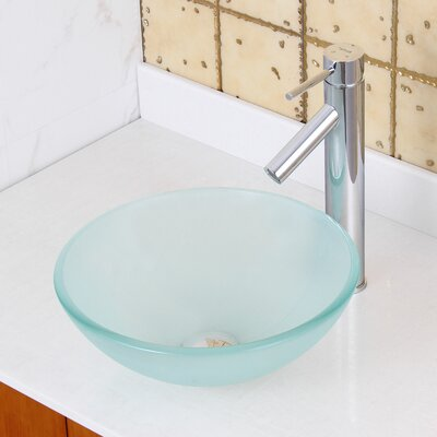 Double Layered Tempered Glass Circular Vessel Bathroom Sink Drain Finish: Chrome