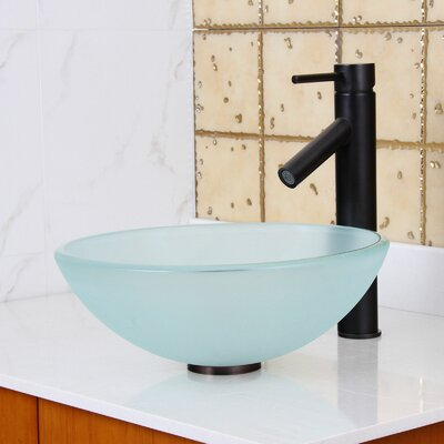 Double Layered Tempered Glass Circular Vessel Bathroom Sink Drain Finish: Oil Rubbed Bronze