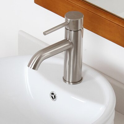 Single Handle Bathroom Sink Faucet with Horizontal Dip Tip Spout Finish: Brushed Nickel