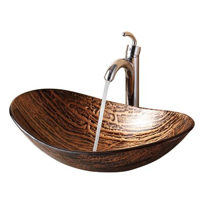 Hot Melted Tree Bark Boat Oval Vessel Bathroom Sink Drain Finish: Brushed Nickel