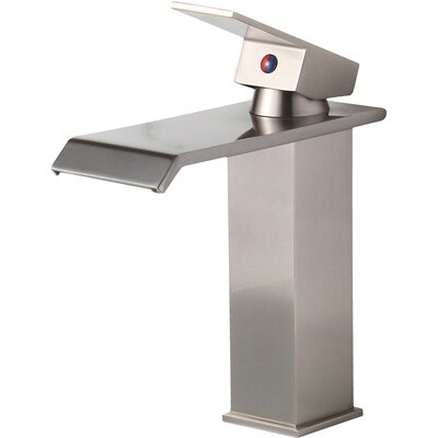 Single Handle Bathroom Waterfall Faucet Finish: Brushed Nickel