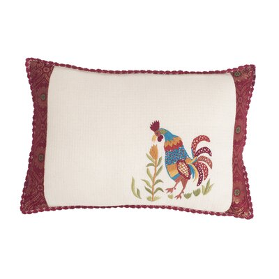 Doodle Doo Rooster Embellished Cotton Throw Pillow