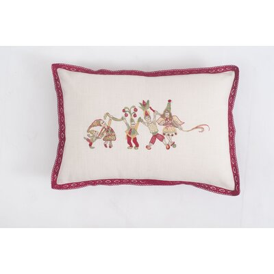 Elves Embroidered Cotton Throw Pillow