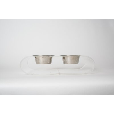 Acrylic Curved Double Bowl Diner Size: Large