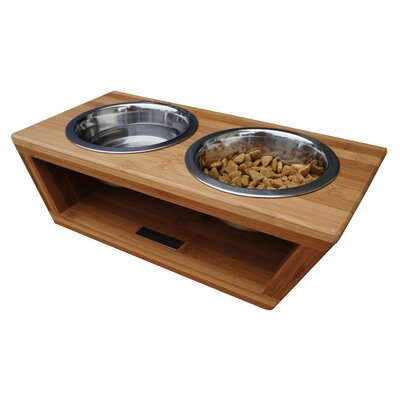 Bambu Angled Pet Diner Double Bowl Feeder Size: Small (4 H x 14 W x 6.5 D