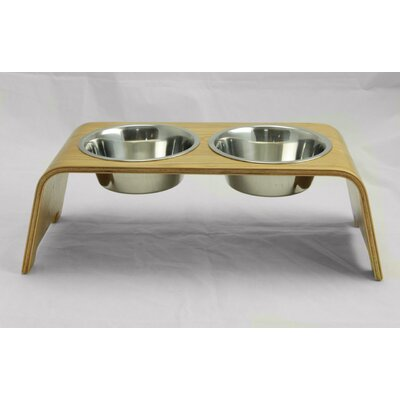 Bent Wood Double Bowl Elevated Feeder Size: Large