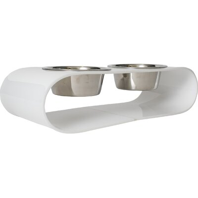 Acrylic Curved Double Bowl Diner Size: Medium