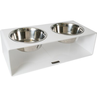 Acrylic Square Diner Double Bowl Size: Large