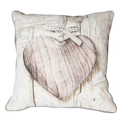 Wooden Hearts Cotton Throw Pillow