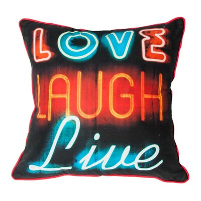 Neon Type Cotton Throw Pillow